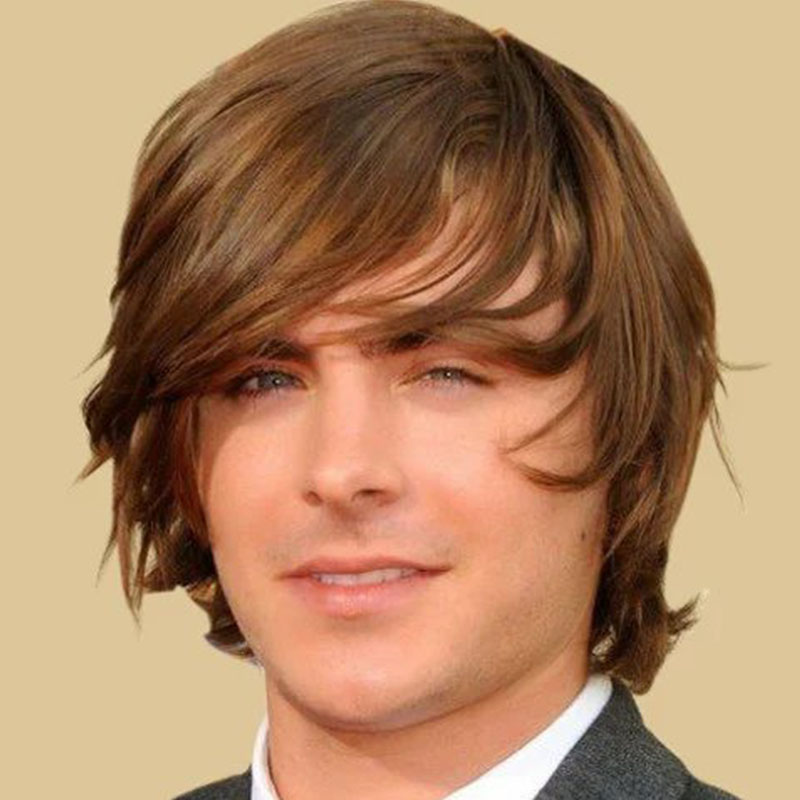 2016 New Wavy Hairstyle Light Brown Color Glamorous Fashion Full Synthetic Hair Men Wigsin Men