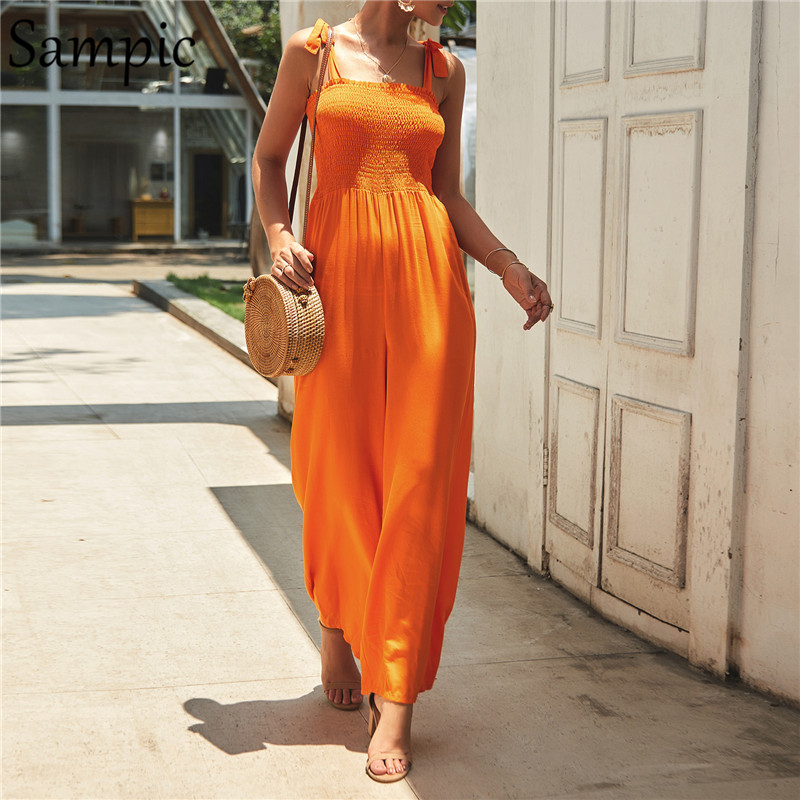 Sampic Wide Leg Casual Bandage Jumpsuit Women Overall White Orange Summer Jumpsuits Backless High Waist Rompers Womens Jumpsuit