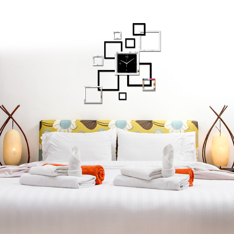 2017 hot living room wall clock horloge watch murale 3d diy acrylic mirror home decora square. Black Bedroom Furniture Sets. Home Design Ideas