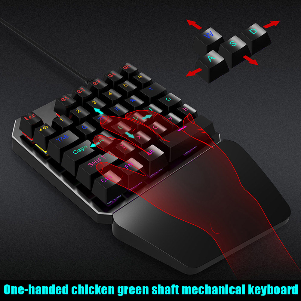 New One hand 35 Keys Wired USB Gaming Mechanical Keyboard Keypad for PUBG Game