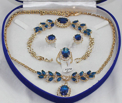 Hot sale FREE SHIP>>>>Plated Inlay Blue crystal Necklace Bracelet Ring Earring set AAAHot sale FREE SHIP>>>>Plated Inlay Blue crystal Necklace Bracelet Ring Earring set AAA