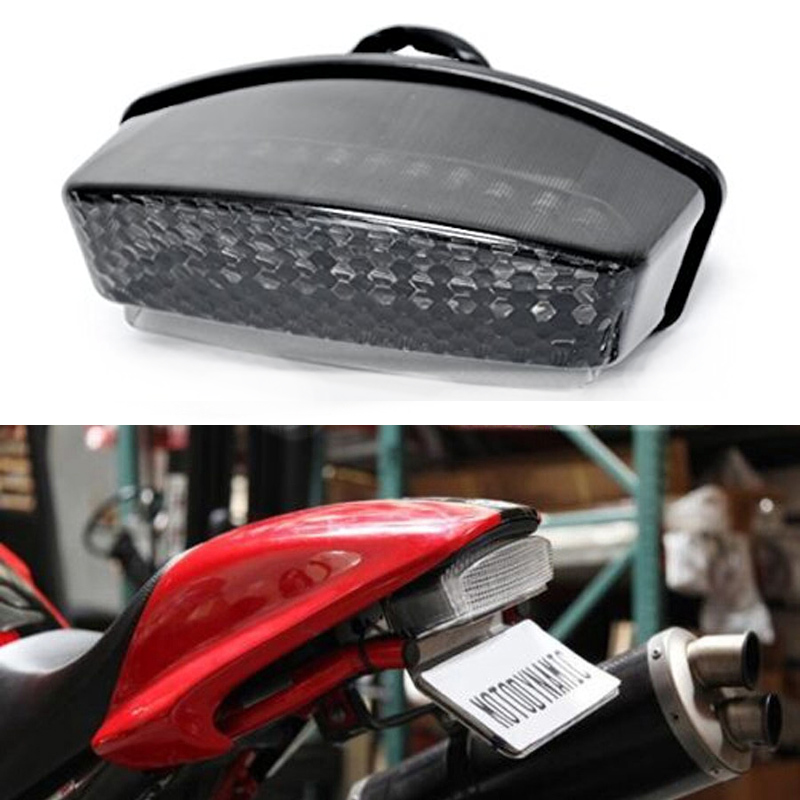 LED TailLights Brake Tail Lights with Integrated Turn Signals Indicators Smoke Motorcycle for 1994-2008 Ducati Monster for ducati monster diesel 696 750 795 796 1100 2009 2010 2011 2012 2015 rear tail light brake turn signals integrated led light