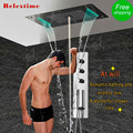 Thermostatic Shower Panel Stainless Steel LED Rain Waterfall Big Shower Head Ceiling Bathroom Faucet Set Wall Mounted Rainfall