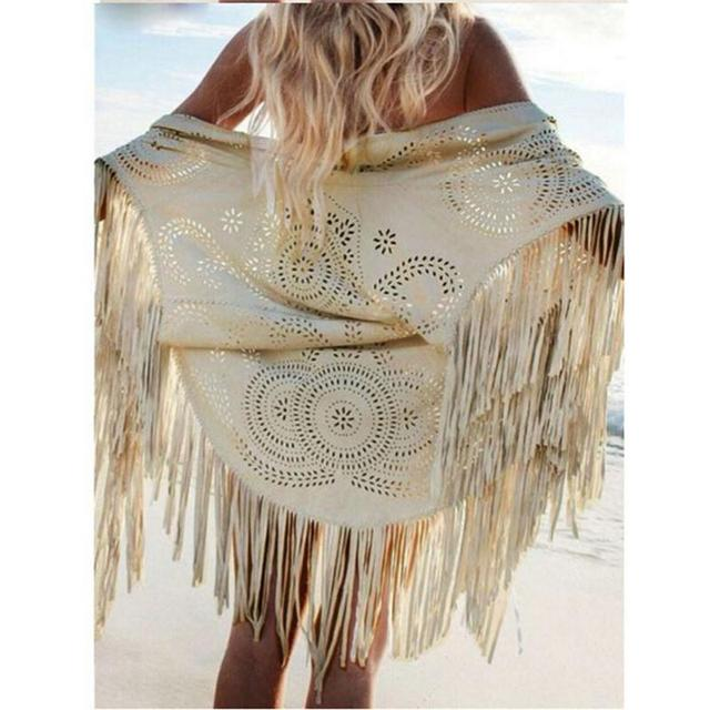 faaca88dae7d Women Casual Tippet Faux Suede Leather Cut Out Summer Beach Cover Up Kimono  Long Fringes Tassels Thin Coat Cardigan Jacket S-XL