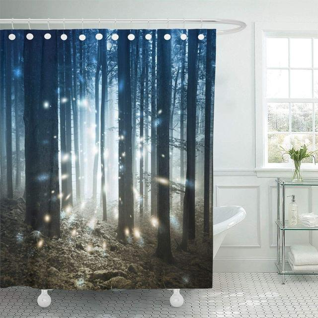 Shower Curtain Blue Mystery Fantasy Firefly Lights In The Magic