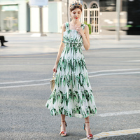 High quality runways Fashion designer Summer long dress Pea print casual Women's Spaghetti Strap sexy long dress