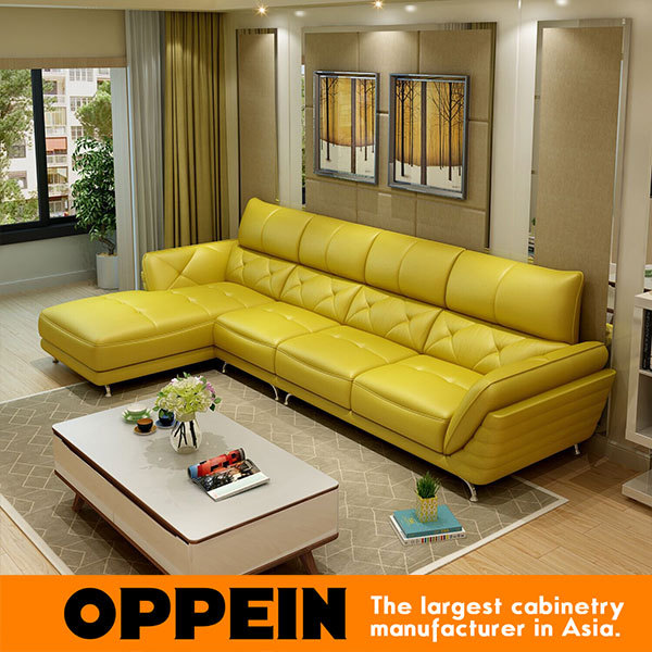 Sofa set living room furniture modern high quality - Yellow leather living room furniture ...