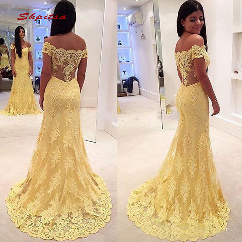 Yellow Long Lace Mermaid   Evening     Dresses   Party Sexy Off Shoulder Plus Size Ladies Women Formal   Dresses     Evening   Gown