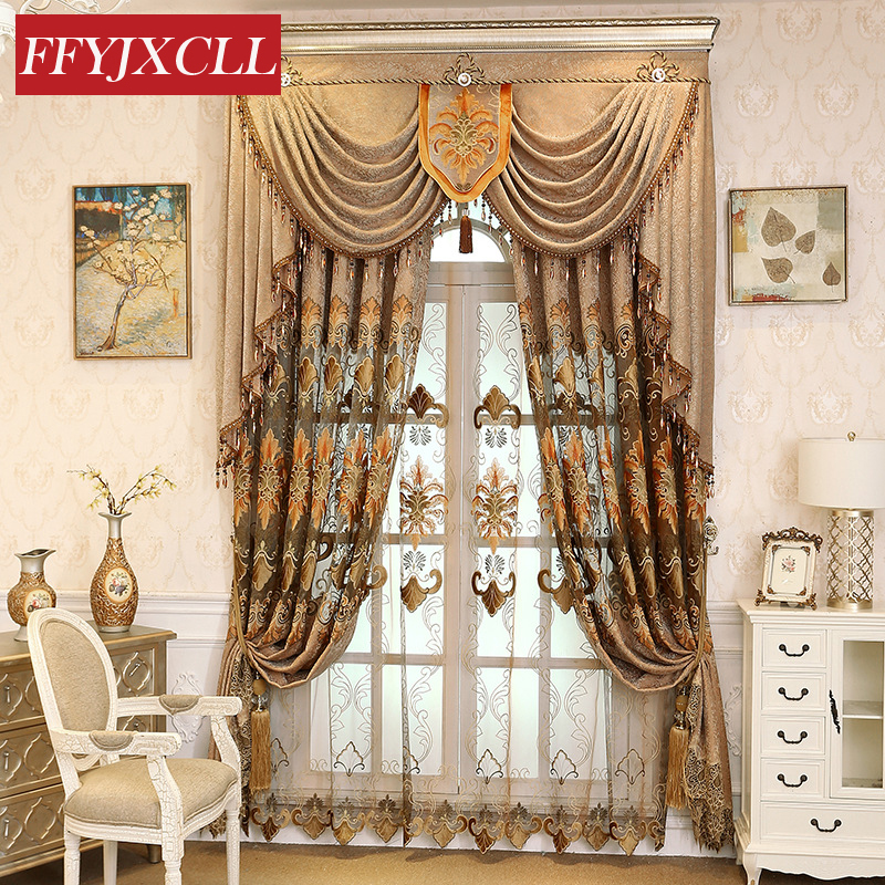 Coffee Color Home Decor Classic Embroidered Curtains Blackout For living Room Bedroom Kitchen Curtains Tulle  Jacquard Drapes window valance