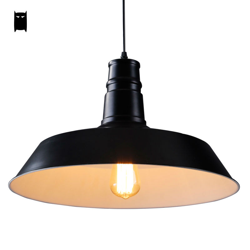 Black White Aluminum Cover Pendant Light Fixture Loft Vintage Industrial Hanging Lamp Luminaria Lustre Avize Dining Room Kitchen aluminum chain pendant light fixture vintage empire suspension lamp french chain hanging lustre for living room hotel restauran