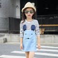 For 2 3 4 5 6 7 years girl strip Dresses Girls Dress long sleeve mouse dress fashion kids girl cloth
