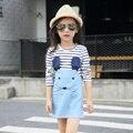 Para 2 3 4 5 6 7 anos de menina tira vestidos de Meninas Vestido de manga longa rato moda infantil vestido da menina pano