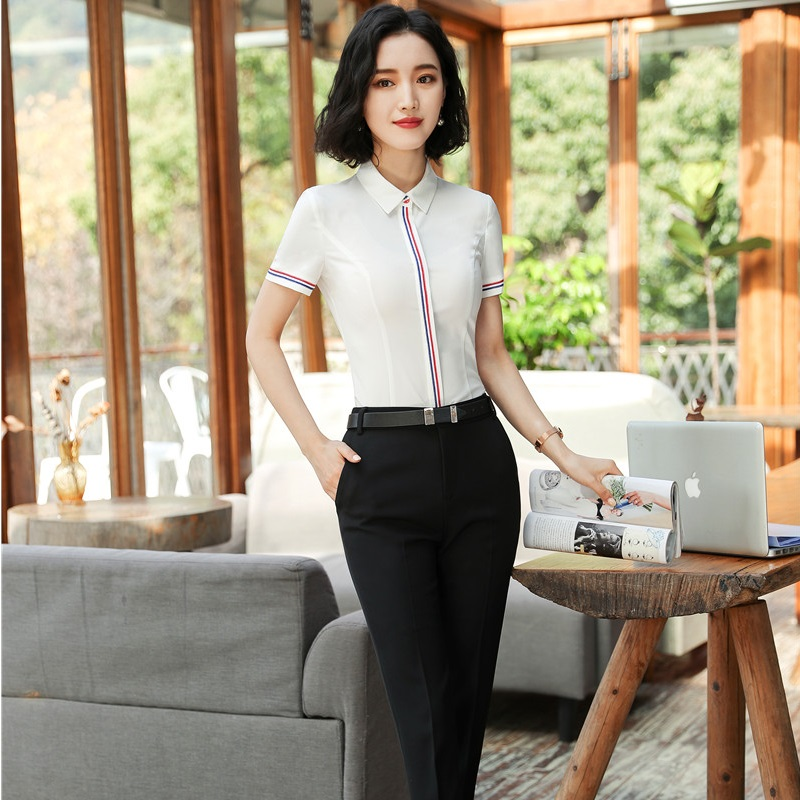 Formal Professional Pantsuits With 2 Piece Tops And Pants Female Trousers Sets Women Pants Suits For Ladies Office Work Wear Set