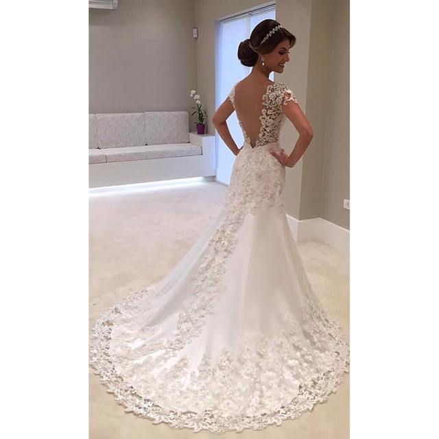 Fansmile Illusion White Backless Lace Mermaid Wedding Dress Short Sleeve Wedding Gown Bride Dress FSM-453M