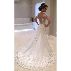 Fansmile Illusion Vestido De Noiva White Backless Lace Mermaid Wedding Dress 2019 Short Sleeve Wedding Gown Bride Dress FSM-453M 2