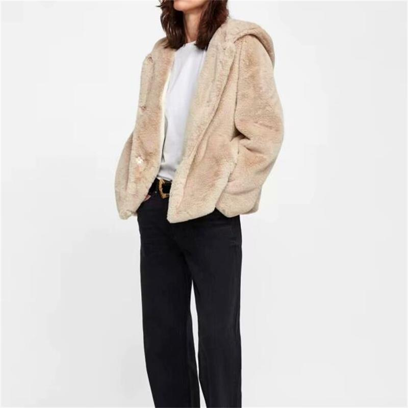 Lady Rabbit hair Fashion Khaki Hooded Coats Winter Cardigans Covered Breasted Coat Pure color Women Outerwear N523