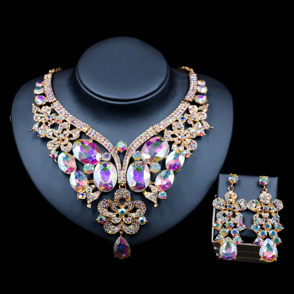 Lan palace african jewelry sets gold color dubai Glass Rhinestone necklace and earrings for wedding six colors free shipping