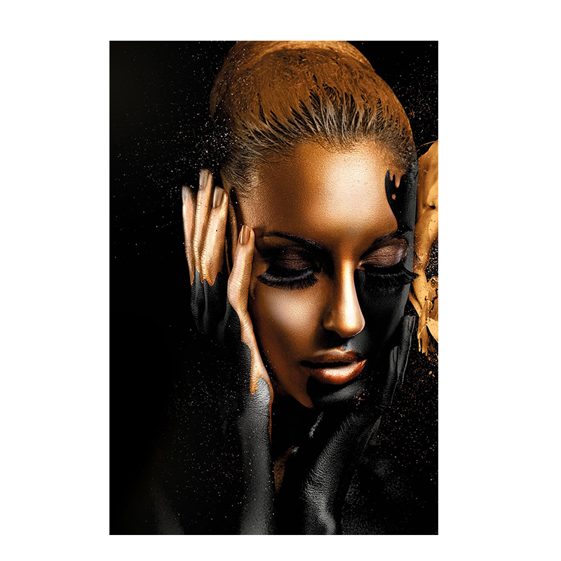 HTB16 3MNTpK1RjSZR0q6zEwXXaC Black Gold Nude African Art Woman Oil Painting on Canvas Cuadros Posters and Prints Scandinavian Wall Picture for Living Room