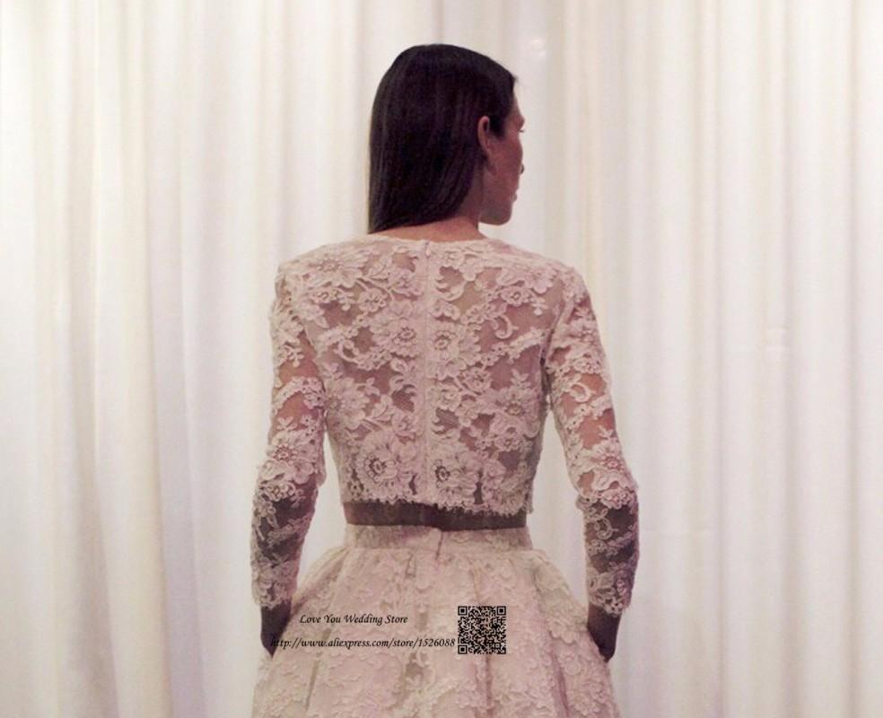 1c90339d91 Wysoki Niski Suknie Ślubne Boho Dwuczęściowy Koreański Suknie Ślubne  Koronki ślubnej Sukni Z Długim Rękawem Krótki Przód Długi Powrót Robe de  Mariage