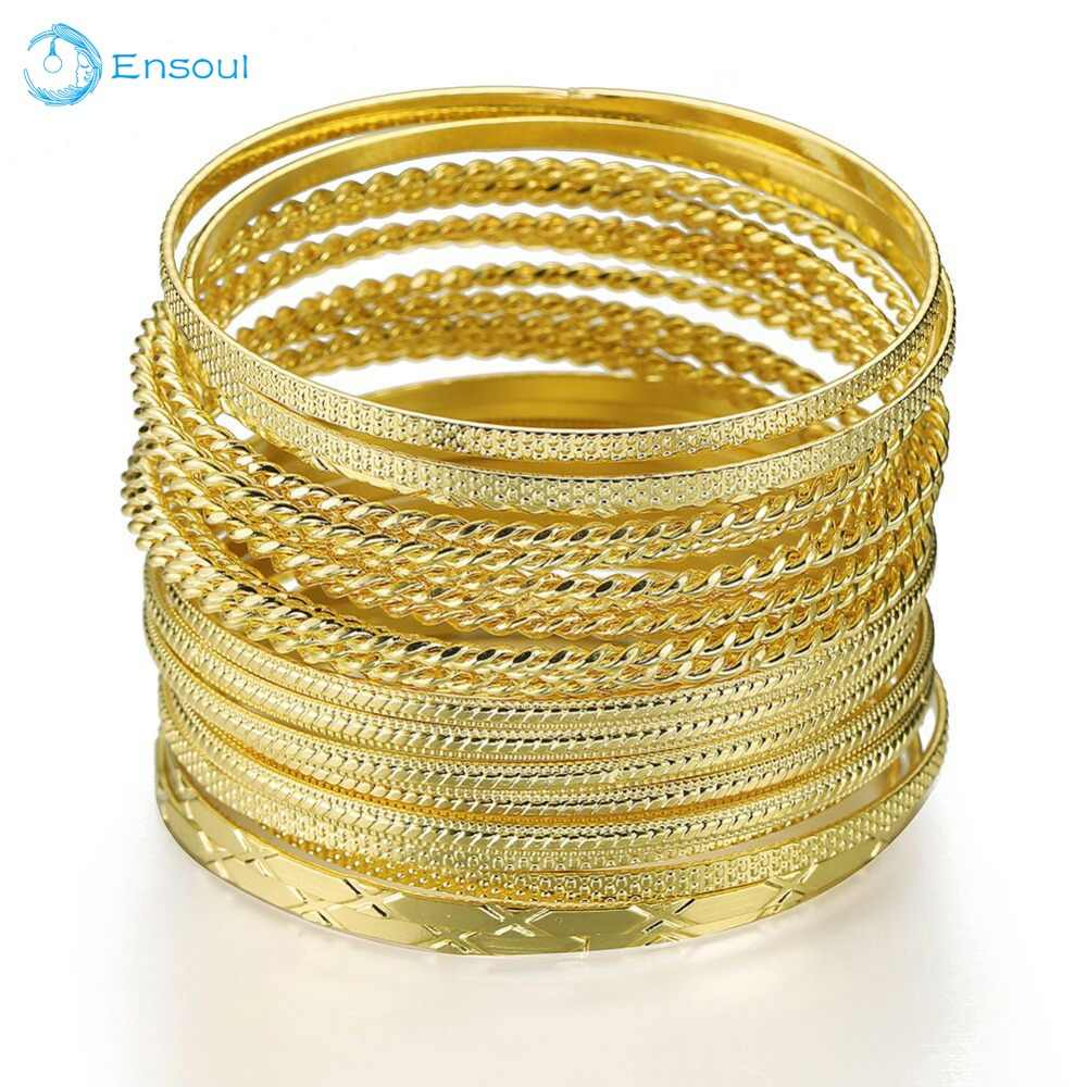 Ensoul New Fashion 23Pcs/Lot Charm Luxury Gold Bangles New Desing Width Bracelet round multi-loop popular ladies Bracelet Gift