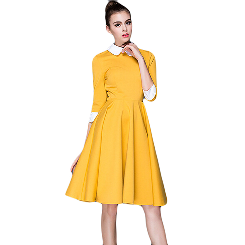 d1d7a7054cf Black blue yellow vintage cotton knitted skater dress knee length midi high  waist flare peter pan collar 50s rockabilly retro-in Dresses from Women s  ...