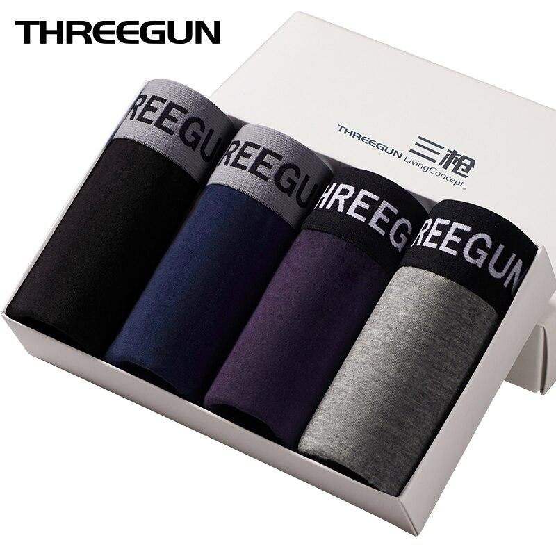 THREEGUN 4Pcslot Shorts Men Underwear Shorts Plus Size Boxers Soft Boxers Cotton Boxer Men Solid Boxer Male Underwear Lot cueca