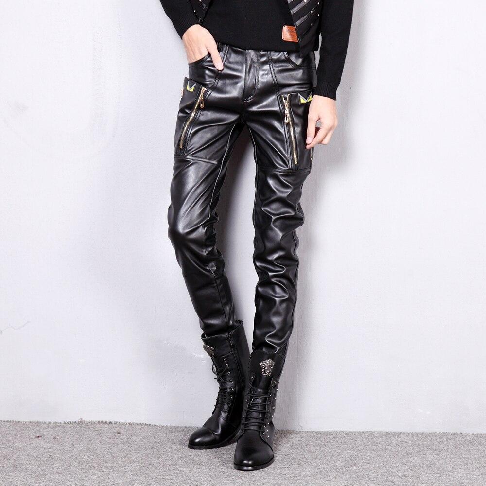 Korean Style Clothing Men Pants Casual Mens Business Trousers Hip Hop Joggers Punk Pants Men's Winter Pants Faux Leather Pants