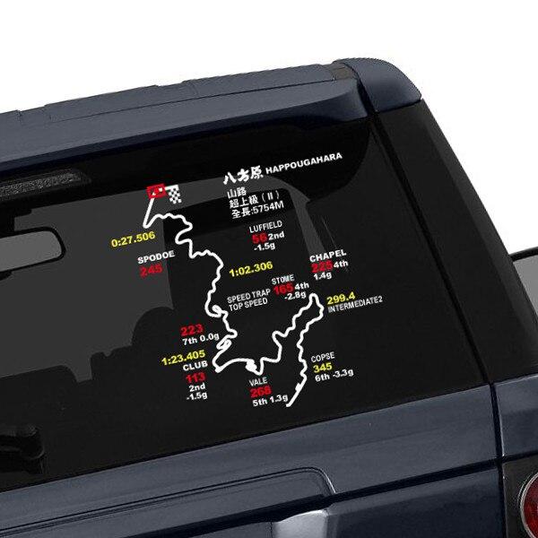 HAPPOUGAHARA AKAGI AKIAN SHOUMARU Japanese Initial D Film Famous Racing Track Map Reflective Vinyl Sticker Rear Windshield Decal