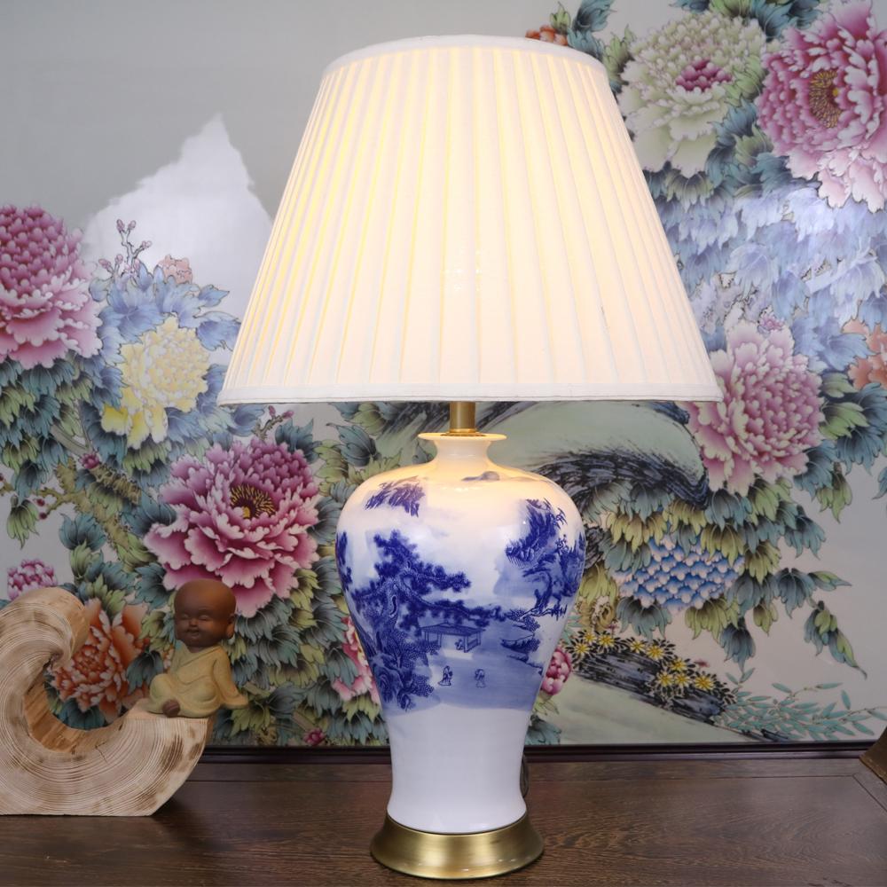 Blauen Und Weissen Kunst Chinesisches Porzellan Keramik Tischlampe Schlafzimmer Wohnzimmer Hochzeit Jingdezhen Lampen