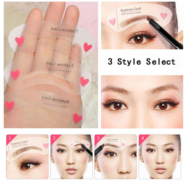 Korean Eyebrow Stencils 3 Styles Reusable Mini Blacken ...