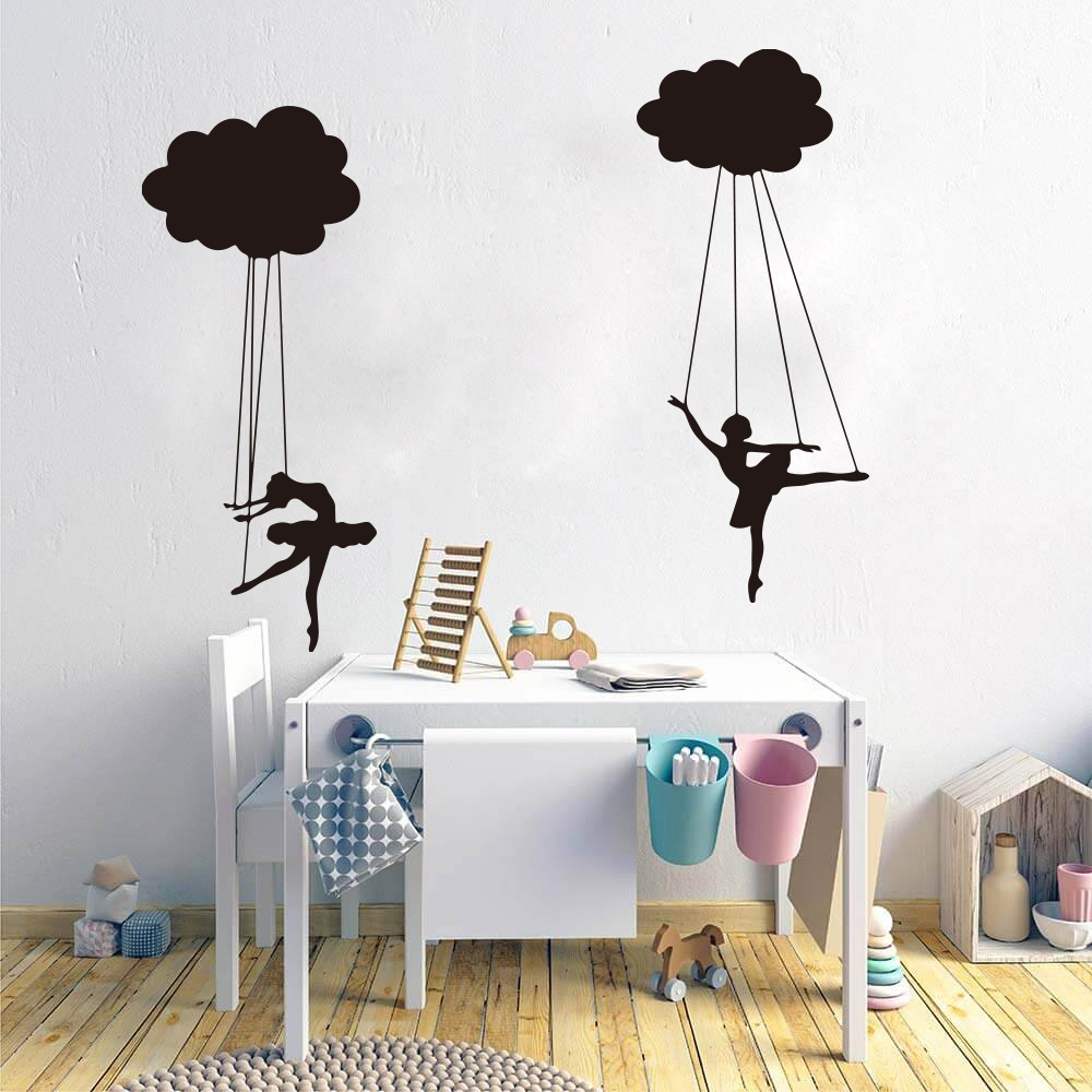 Cartoon Cloud Puppet Ballerinas Wall Sticker Nursery Kids Room  Dancer Marionette Doll Wall Decal Children Room Bedroom Vinyl