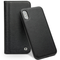 QIALINO Genuine Leather Flip Case for iPhone X Card Slot Intelligent Sleeping Wakeup Magnetic Phone Cover for iPhoneX 5.8 inches