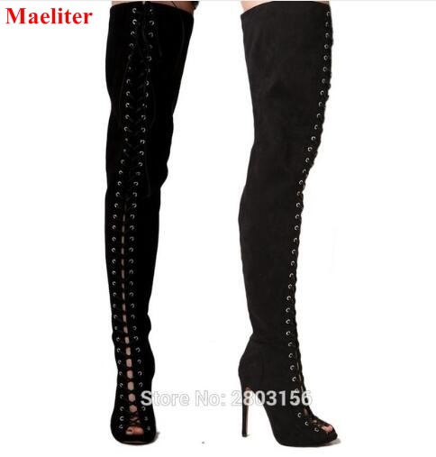 Sexy lace up thigh high boots open toe cut out strappy gladiator heels summer over the knee boots shoes woman