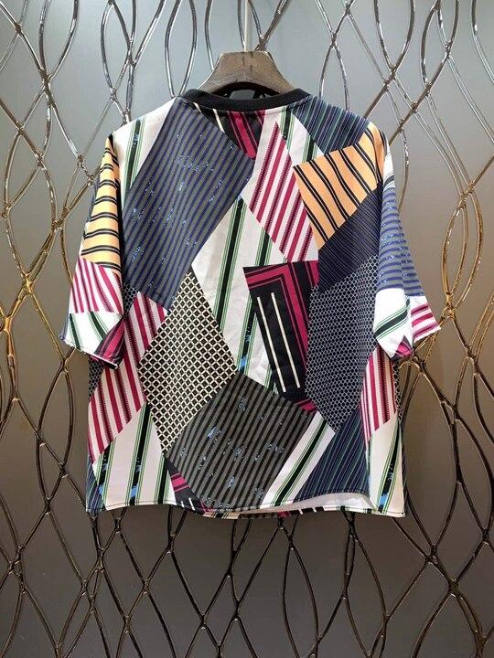 shirt Rundhals Farbe gelb Plaid Frauen Druck Frühjahr Striped Neue Top118 Kurzen Unregelmäßige Ärmeln Rot Passenden T 2019 8aqOtxw