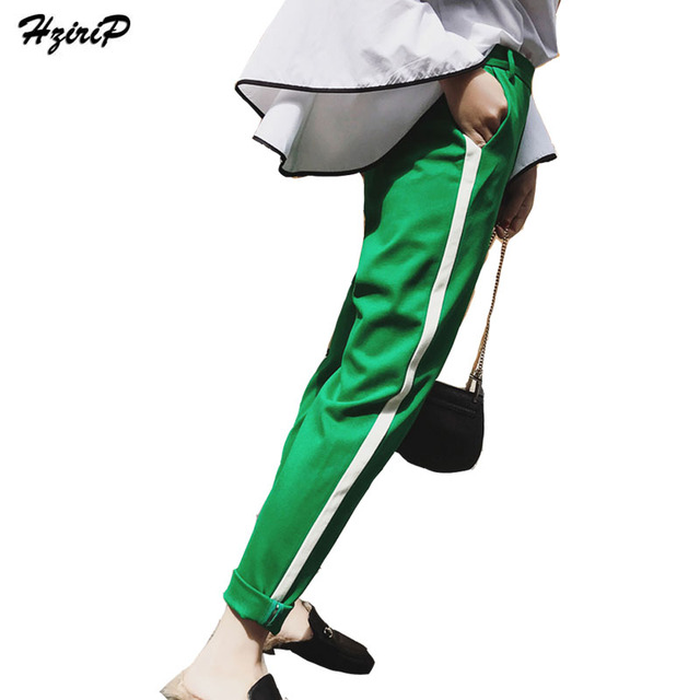 Hzirip Women Casual Pants Side Striped Flat High Waist Cargo Pant 2017  Autumn Loose Fashion All Match Outwork Ladies Trousers 355546cb7e2