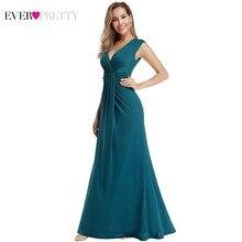 청록색 머메이드 이브닝 드레스 오랫동안 예쁜 EP00927TE v 넥 민소매 섹시한 공식 드레스 우아한 파티 가운 가운 드 Soiree