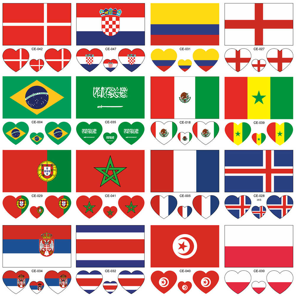 f964788b6 ATOMUS 2018 10PCS 32 Countries Tattoo Stickers Waterproof Flag Heart-shaped  on Face Arm Theme