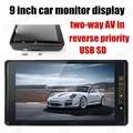 Al por mayor para la cámara trasera inversa prioridad AV de dos vías en Nueva 9 pulgadas TFT lcd Monitor Del Coche del color SD USB