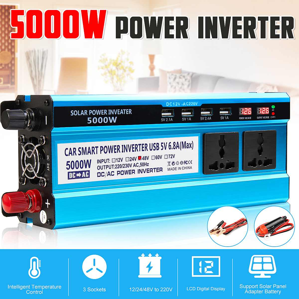 5000W Solar Power Inverter DC 12V/24V/48V To AC 220V Voltage Converter Transformer Double Display 3 Sockets 4 USB Ports