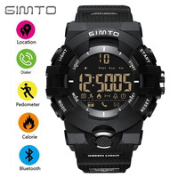 GIMTO Cool Black Smart Watch Men Bluetooth Sport Electronic Wrist Watches Waterproof Smartwatch Wearable Devices For
