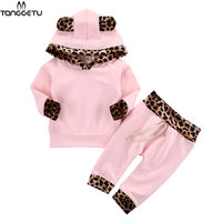 2018 Spring Baby Girls Clothes New Animal Lenopard Long Sleeve Hooded Pink Shirt Pants 2Pcs Outfits