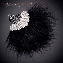 IYOE корейский стиль черный Hairball веерообразные булавки-брошки с кристаллами Ретро стиль рождественские броши кулон Винтажные Ювелирные Изделия