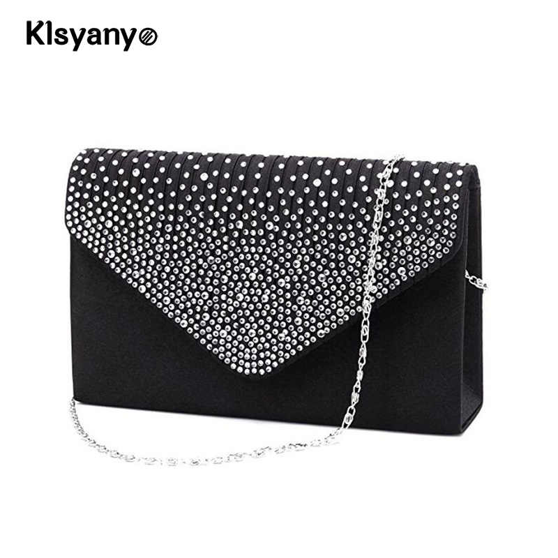 Klsyanyo女性ラインストーンイブニングクラッチエンベロープつや消しハンドバッグパーティーブライダルチェーン財布フラップポシェットソワレbolsos mujer