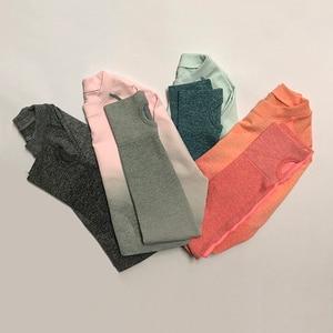 Image 3 - Kadın Yoga Seti Spor Giyim Ombre Dikişsiz Tayt + Kırpılmış Gömlek Egzersiz Spor Takım Elbise Kadınlar Uzun Kollu Spor Seti Aktif giyim