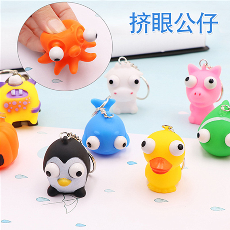 Anti Stress Squeeze Eyes Doll Funny Decompression Toy Protruding Eye With Keychain Small Squeezing Toys