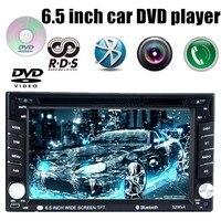 6.5 дюймов Универсальный 2 DIN автомобильный DVD MP4 плеер для камера заднего вида Сенсорный экран Bluetooth Handsfree SD USB 7 языков RDS AM FM