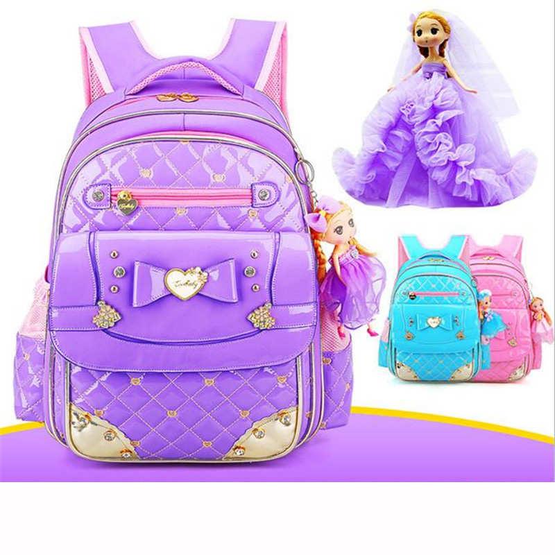 2017 PU Orthopedic Waterproof best Backpack casual New Cute Children Schoolbag Backpack butterfly Grade 1-6 Girls bag galaxy
