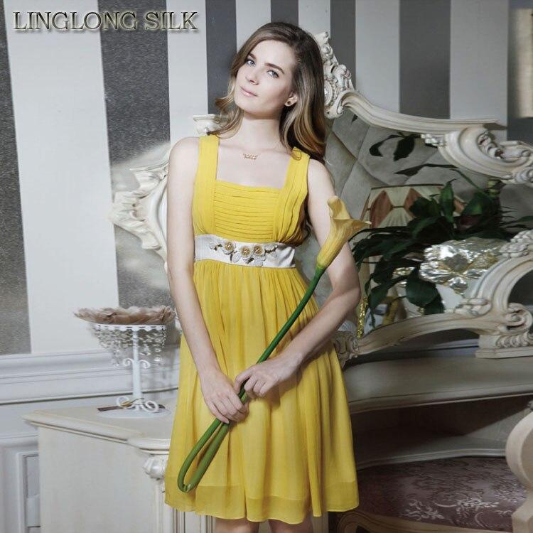 545bfe02881 100 Doublure Style Femmes Nouveau Jaune Avec Couleur De Desigual D été Robes  Mousseline Naturelle Tissu ...