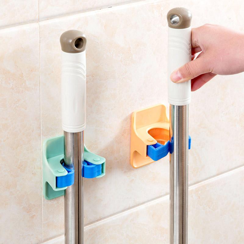 MOM'S HAND 2pcs/lot Home Clip Mop Hooks No Trace Mop Holder Bathroom Rack 11