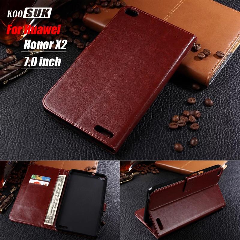 imágenes para Huawei honor cubierta de la caja x2 Nuevo tirón de Lujo del teléfono de la tableta cubierta de cuero monedero Genuino Para Huawei MediaPad X2 funda 7.0 pulgadas